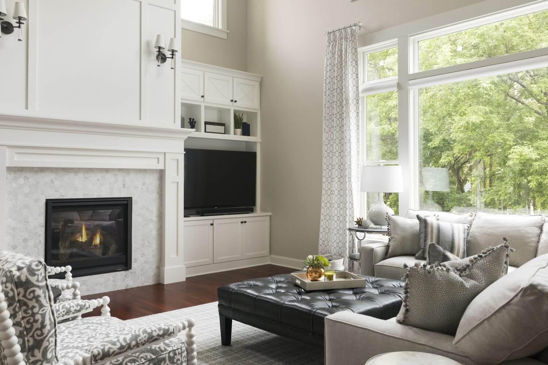 Two Story Woodbury Living Room Fireplace Design Ispiri