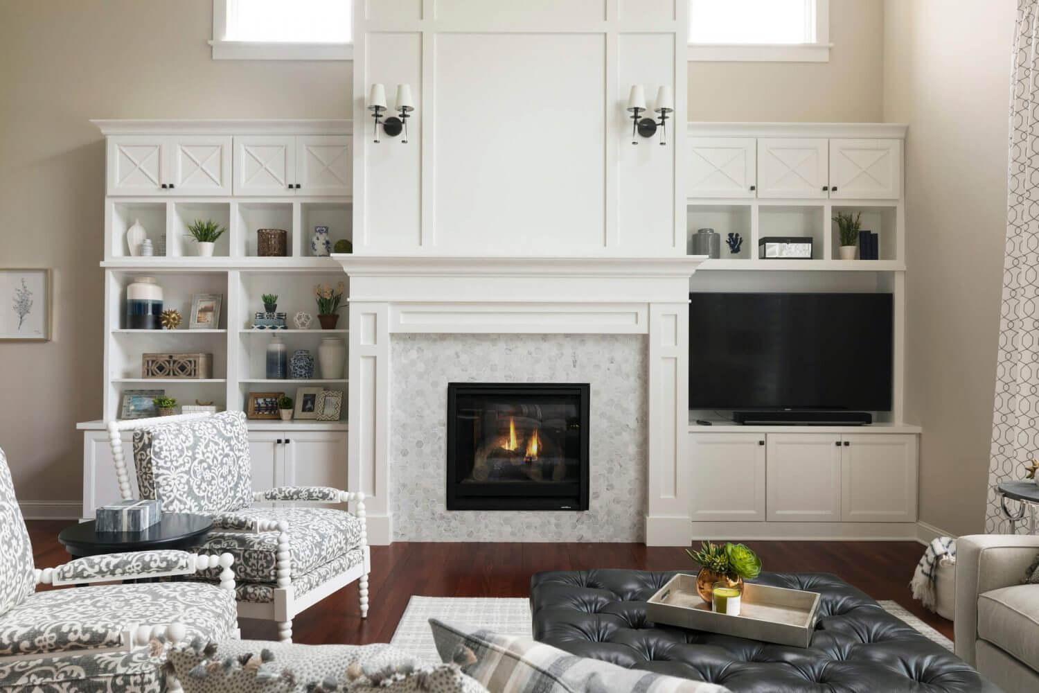 Two Story Woodbury Living Room Fireplace Design Ispiri
